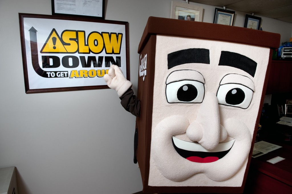 Granger mascot Captain CurbySM is encourages you to Slow Down to Get Around—it's the law!