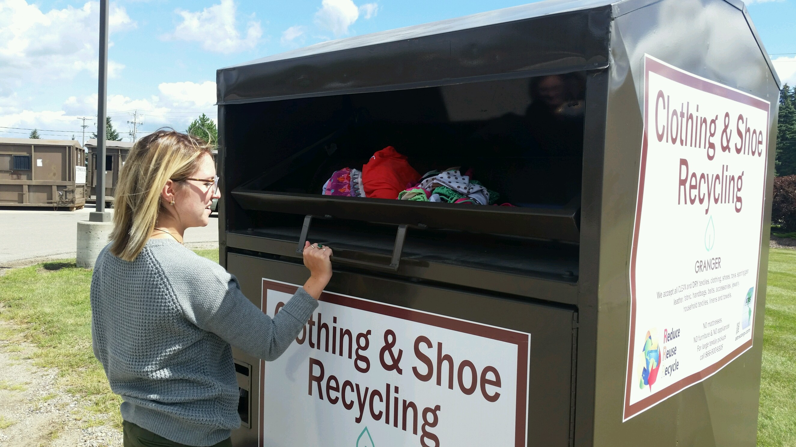Make room for back to school shopping—recycle your old clothes and shoes at Granger