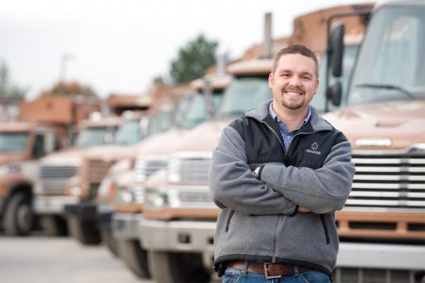 Granger worker with trucks