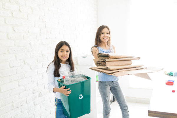 Confident Girls Organizing Waste